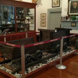 Wooden coal cars and track are on display in the Christian-Davis Room. They were found in 1978 inside a small abandoned coal mine that was probably active during the Civil War. Tools such as picks and hammers that were also found at the same location are on display.