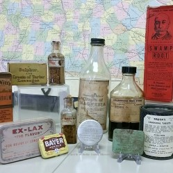 A sampling of just a few of the old time medicines found on display in the Lee Room.