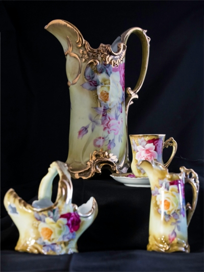 Nippon Hand Painted Pitcher, Sugar Bowl, Creamer, Cup & Saucer, Circa 1890's
