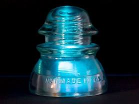 Whitall Tatum No. 1 Glass Telephone Insulator, With Underlighting
