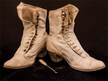 Victorian Ladies High Button Canvas Boots With Antique Button Hook
